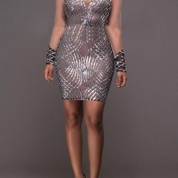 Silver Patchwork Grenadine Backless Bodycon Homecoming Mini Dress