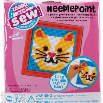 Cat Learn To Sew Needlepoint Kit - Pink Frame