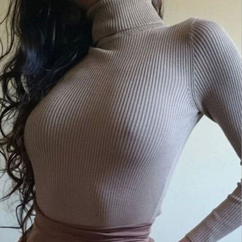 HIGH-NECKED SOLID COLOR WARM SWEATER