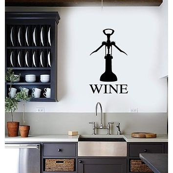 Vinyl Decal Wall Sticker Wine Corkscrew Bottle Opener Decor for Kitchen Gift (g080)