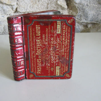 Tiny book shaped tin box for French throat pastilles