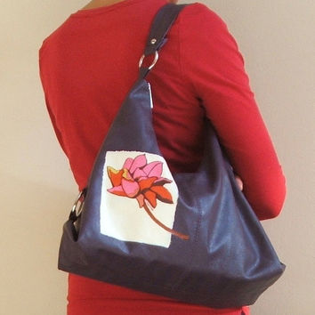 Upcycled womens handbag, purple hobo bag, upcycled tote, slouch bag, vegan bag, designer fabric decoupage, modern floral bag