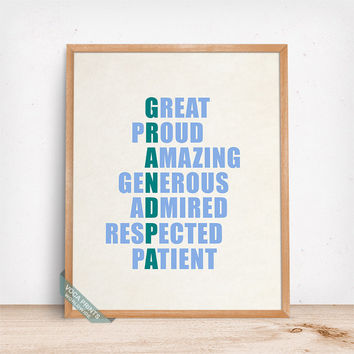 Grandpa Print, Lettering Poster, Grandpa Words, Grandpa Meaning, Home Decor, Wall Art, Gift Idea, Grandparents, Mothers Day Gift
