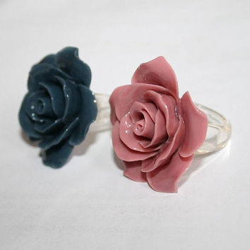 Large Rose ring Modern Victorian style Resin ring base, Dusty Pink Rose Mauve, Dark Navy Blue, choose color, Autumn Party Engagement Ring