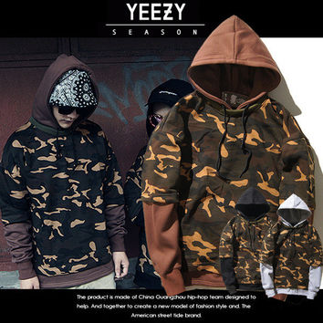 Hoodies Men's Fashion Yeezy Hip-hop Camouflage Pullover Casual Hoodies [9370037063]