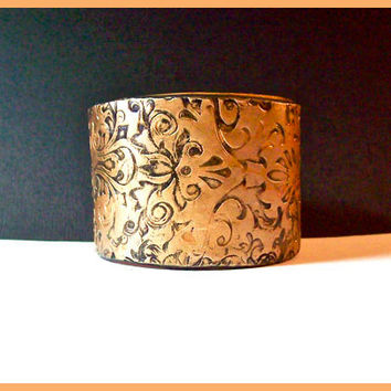 Gold Brocade Two Inch Cuff Bracelet Polymer Clay Handcrafted Magnetic Clasp