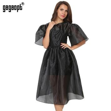 Gagaopt Summer Dress Women Lantern Sleeve Vintage Ball Gown Long Dresses Black 2 piece Elegant Party Dresses Vestidos