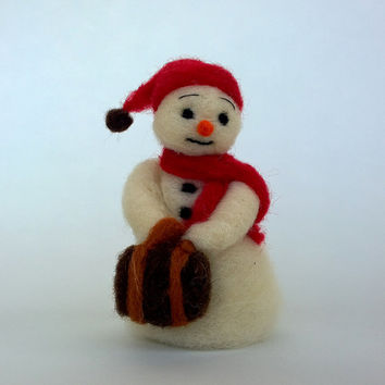 Snowman doll Handmade Christmas ornament Unique felt snowman suitcase figurine Collectible toy Christmas Creation Folk Art Snowman Winter