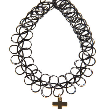 Cross Pendant Tattoo Choker