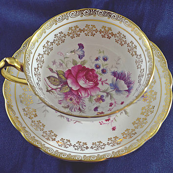 Paragon Teacup And Saucer, Pattern Number A3877, Vintage Paragon, Rose Floral And Gilt Snowflake Scroll
