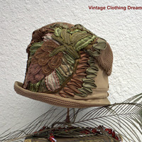20s 1920s Hat Gatsby Cloche Antique Hat Brown Hat Millinery of French Ribbon Embroidery Twenties Flowers OOAK