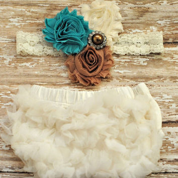 Baby Bloomers and Headband Set - Vintage Shabby - Great Photo Prop