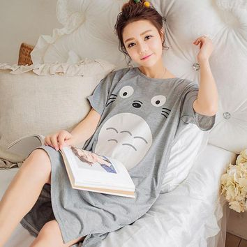 CREYET7 2017 Summer 100% Cotton Women Printed Nightgown Female Casual Outwear Lady Pockets Sleepshirt Girl Pijama Home Clothing Size 3XL
