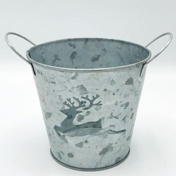 "Reindeer Cut-Out Galvanized 5"" H Bucket"
