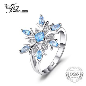 Snowflake Genuine Blue Topaz Ring