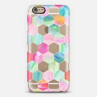Pink, Mint & Teal Crystal Hexagon Oil Paint Pattern iPhone 6 case by Micklyn Le Feuvre | Casetify