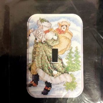 Woodland Santa Counted Cross Stitch Kit Christmas Switchplate