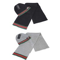 x1love Gucci Women Men Winter Knit Hat Cap Scarf Set Two-Piece