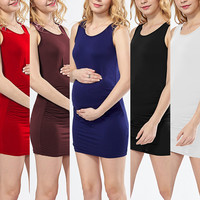 Green Home Summer Fitness Maternity Dress Jersey Sleeveless Maternity Short Dress For Pregnant Woman Daily Wearing Vest Dress
