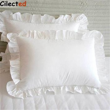 Cilected 2Pcs White Pillowcase Bedding Cotton Solid Ruffle Pillow Sham Princess European Pillow Cover Protector 48*74cm