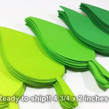 100 Large (4  3/4 x2) Die Cut Green Leaf, Leaf Die Cut, Apple Leaf, Wedding Leaf Placecard