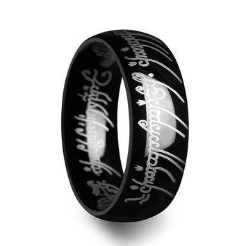 Lord of the Rings Frodo's One Ring Elvish in Black Tungsten