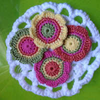 Hand Crochet Flower Appliques Embellishments Rainbow Coasters-Set of 4 in Candy Pink Orange Dreamcicle Green Sunshine Yellow