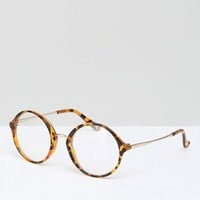 Jeepers Peepers Round Clear Lens Glasses In Tort at asos.com
