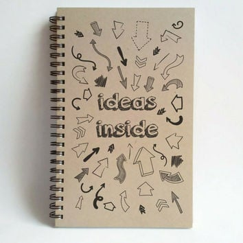 Ideas inside, 5x8 writing journal, custom spiral notebook, personalized brown kraft memory book, small sketchbook, scrapbook, arrows, doodle