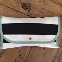 Modern Black and White Stripe and Polka Dot Diaper Clutch // Chaning Pad // Nappy Holder // Cloth Diaper Purse // Diaper Bag