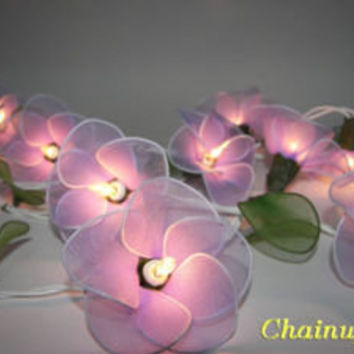 20 PURPLE FLOWERS STRING PARTY,PATIO,FAIRY,DECOR,CHRISTMAS,WEDDING,GIFT LIGHTS