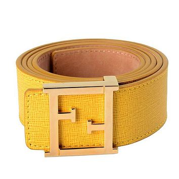Fendi Popular Woman Men Simple Leather Gold Buckle Belt I