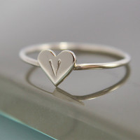 Tiny Heart Ring 14k SOLID White Gold 1mm Band by tinysparklestudio