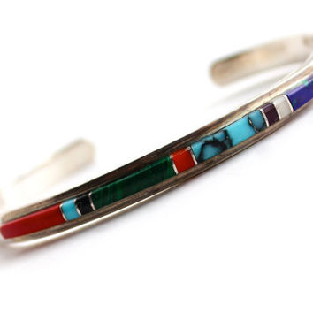 Vintage Sterling Silver Bracelet - Native American Turquoise, Onyx, Coral, Malachite, & Lapis Jewelry Cuff / Semi Precious Stones