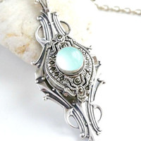 Blue chalcedony pendant,Chalcedony Necklace,Victorian Necklaces