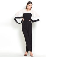 Color Block Flared Sleeve Jumpsuit