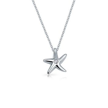 Small Starfish Pendant Necklace Cubic Zirconia CZ Sterling Silver