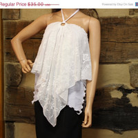 Spring Sale White Lace Camisole Top Halter Top Boho Tattered Lace Clothing Hippie Clothes
