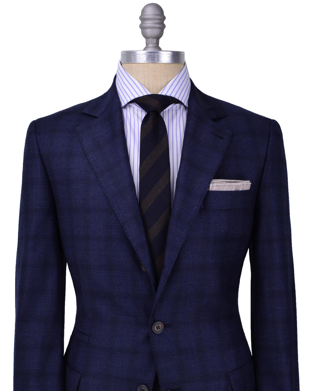 Brunello cucinelli navy plaid suit from stanley korshak for Navy suit checkered shirt