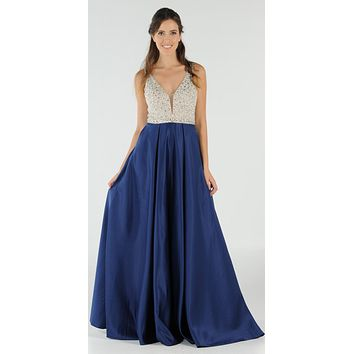 Navy Blue Beaded Bodice V-Neck Long Prom Dress with Pockets