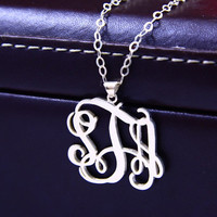"1.25""inch interlocking Monogram Sterling Silver Necklace,925 Silver Pendant Necklace ,Name initial Necklace"