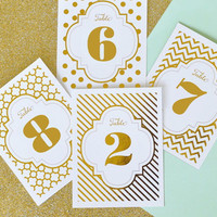 Gold Foil Table Numbers (Set of 12)