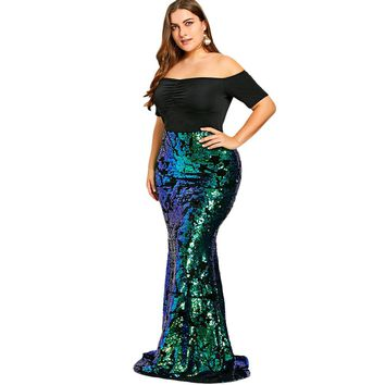 Green Sequined Mermaid Skirt Plus Size Maxi