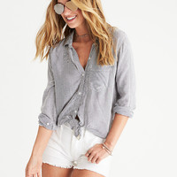 AEO Boyfriend Prep Shirt, Black Stripe