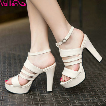 VALLKIN 2017 Women Pumps Western Style Slingback Buckle Strap PU Leather High Heel Elegant Spring Autumn Ladies Shoes Size 34-43