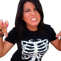 Juniors Funny Rib Cage Skeleton Halloween Costume Goth Punk Horror EMO T-Shirt