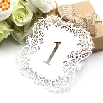 New!10PCS/Set Paper Card Wedding Table Numbers Table Cards Laser Cut Card Vintage DIY Wedding Decoration Event Party Supplies