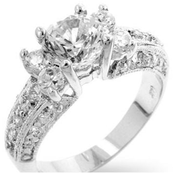 Colette Art Deco Round Cut Engagement Ring | 4 Carat | Cubic Zirconia