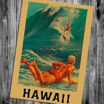 Free ship! Maui Hawaii Vintage poster Classic design character retro posters wall art painting wallpaper cafe bar pub decoraiton