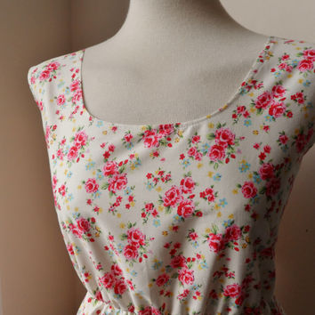 Floral Dress / Cream English Rose Floral Dress / Shabby Chic Floral Dress..